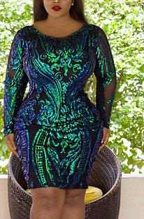 Elegant Long Sleeve Round Neck Spliced Midi Dress CCY1367