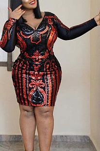 Sexy Pop Art Print Long Sleeve V Neck Spliced Midi Dress CCY1354