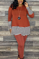 Casual Simplee Striped Long Sleeve Round Neck Long Pants Sets AWL5825