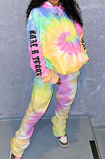 Fashion Sexy Casual Sport Tie Dye Printing Hooded Fleece Two-Piece LYY9280