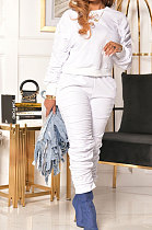 Casual Long Sleeve Long Pants Shirred Detail Pure Color Two-Piece YYF8148