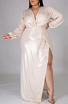 Sexy Long Sleeve V Neck Spliced High Waist Plus Long Dress CCY1350
