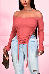 Camisas sexy simplee manga comprida sem ombro N9263