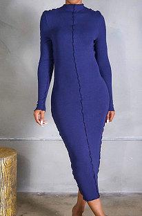 Autumn Winter Keep Warm Long Sleeve At Home Rib Casual Dress CM807