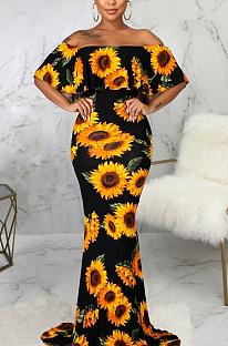 Elegant Sexy Short Sleeve Off Shoulder Sunflower Print Tube Dress SMR9877