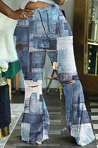 Casual Fashion Tie Dye High Waist Flare Leg Pants WA7119
