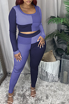 Casual Long Sleeve Round Neck Spliced Tee Top Long Pants Sets HG087