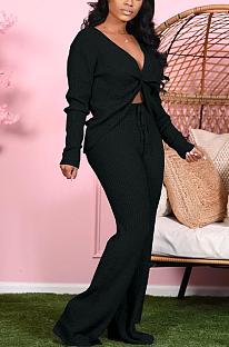 Conjuntos de calças sexy de manga longa com decote em V profundo e perna ampla TK6127
