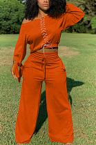 Ensembles de pantalons larges décontractés à manches longues et épaules dénudées avec ceinture TK6123