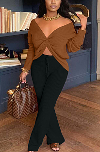 Casual Simplee Long Sleeve Deep V Neck Blouse TK6130
