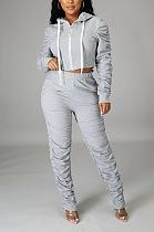 Sexy Long Sleeve Slant Pocket Ruffle Tee Top Long Pants Sets HG089