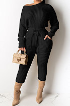 Pure Color Long Sleeve Rib Multicolor Two-Piece MD389