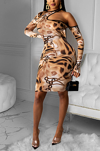 Elegant Pop Art Print Long Sleeve Round Neck Hollow Out Long Dress OMM1187