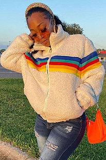 Casaco de manga comprida com zíper de manga comprida arco-íris de lã de carneiro da moda SMY8059