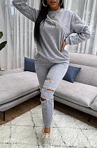 Casual Simplee manches longues col rond déchiré pantalons longs ensembles TK6122