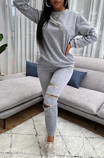 Conjuntos de calças compridas casuais simplee com pescoço redondo rasgado TK6122
