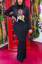 Elegant Polyester Figure Graphic Long Sleeve Round Neck Split Hem Long Dress OMM1182