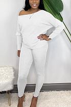 Casual Sporty Long Sleeve Off Shoulder One Shoulder Long Pants Sets ALS229