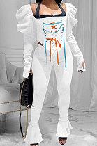Bind Falbala Long Sleeve Heap Sleeve Casual Sets NK195