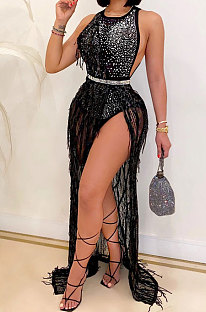 Fashion Club Hot Drilling Sequin Net Yarn Sexy Tassel Dress Two-Piece CYF3710