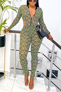 Sexy Long Sleeve V Neck Spliced Clashing Colors Clairvoyance Bodycon Jumpsuit MY9782
