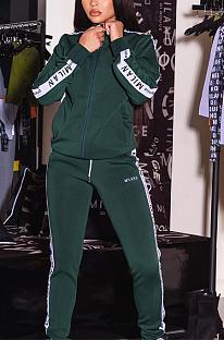 Casual Sporty Long Sleeve Spliced Waist Tie Long Pants Sets CL6036