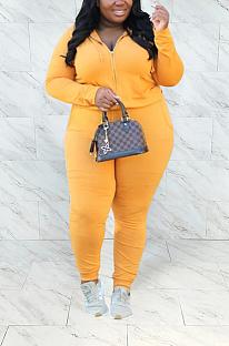 Sporty Long Sleeve Slant Pocket Hoodie Tee Top Long Pants Sets YMZ7118