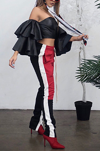 Sporty Contrast Binding Knotted Strap Long Tapered Pants AFY701