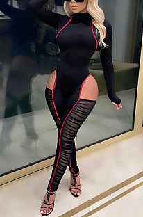 Sexy Polyester Long Sleeve Round Neck Spliced Bodycon Jumpsuit MY9790