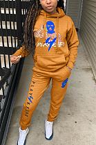 Casual Sporty Cartoon Graphic Long Sleeve Hoodie Long Pants Sets TK8022