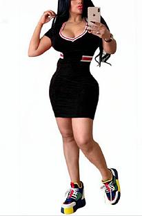 Casual Simplee Short Sleeve Deep V Neck Midi Dress CL6015