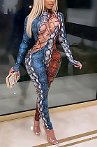 Sexy Pop Art Print Long Sleeve Round Neck Self Belted Hollow Out Bodycon Jumpsuit MY9787