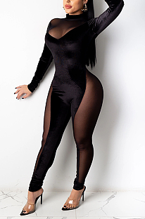 Sexy Polyester Spandex Long Sleeve Round Neck Mesh Yarn Spliced Bodycon Jumpsuit MY9788