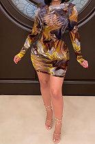 فستان مثير بفتحة طويلة الأكمام بخصر متوسط H1575