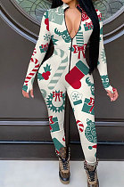 Christmas Casual Polyester Long Sleeve Casual Jumpsuit YMT6189