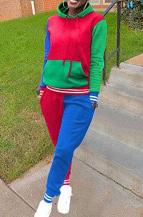 Street Fashion Multi Color Matching Womenswear Pants Casual Sport Two-Piece LIN8835