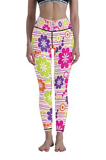 Casual Polyester Floral High Waist Yoga Long Pants WT30010