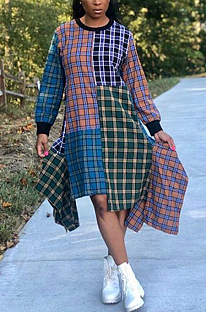 Casual Gingham Long Sleeve Round Neck Midi Dress KSN5075