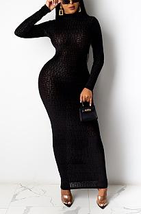 Casual Slim Long Sleeve Round Neck Close Edge Long Dress YS457