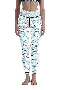 Casual Polka Dot Geometric Graphic High Waist Running Long Yoga Pants WT30016