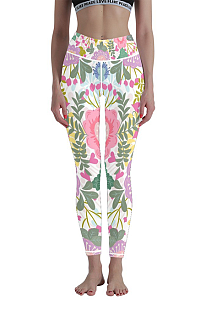 Casual Polyester Breathable Floral Plus Size Yoga Long Pants WT30019