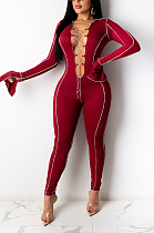 Sexy Spandex Long Horn Sleeve Self Belted Bodycon Jumpsuit YS453