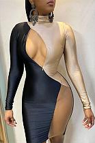 فستان قصير مثير بأكمام طويلة وملزم متباين من Night Out فستان قصير GL6318