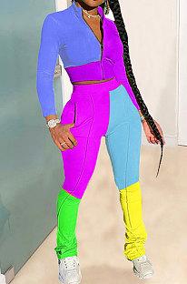 Fashion Casual Sport Spliced Longh Sleeve Zipper Two-Piece LIN5701