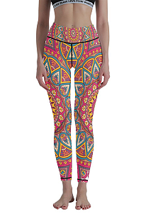 Casual Polyester Pop Art Print High Waist Stretch Yoga Long Pants WT30017