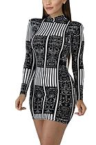 فستان قصير مثير متواضع بكم طويل رقبة مستديرة KSN5037