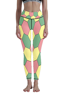 Casual Polyester Geometric Graphic High Waist Yoga Long Pants WT30012