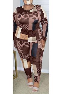 Casual Pop Art Print Long Sleeve Round Neck Tee Top Long Pants Plus Sets GL7003