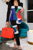 Fashion Printing Spliced Cardigan Business Suit Sets Two-Piece BLX7548