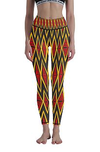 Casual Polyester Breathable 3D Geometric Graphic Yoga Long Pants WT30009